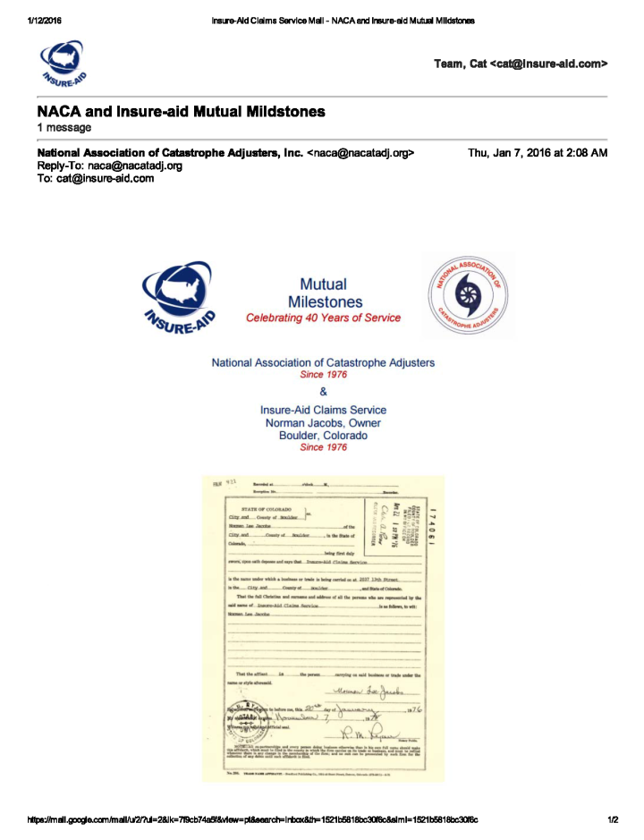 Insure-Aid Claims Service Mail - NACA and Insure-aid Mutual Mildstones_Page_1
